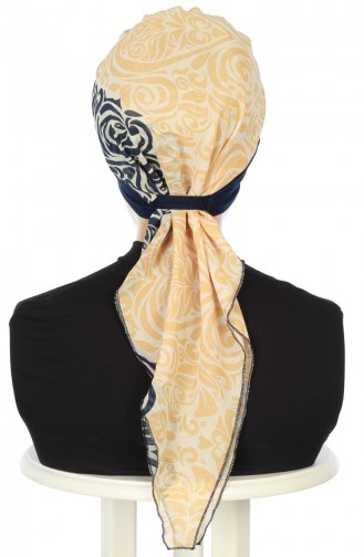 Practical Turban HT0065-1-S Navy Blue Yellow 0065-1-S