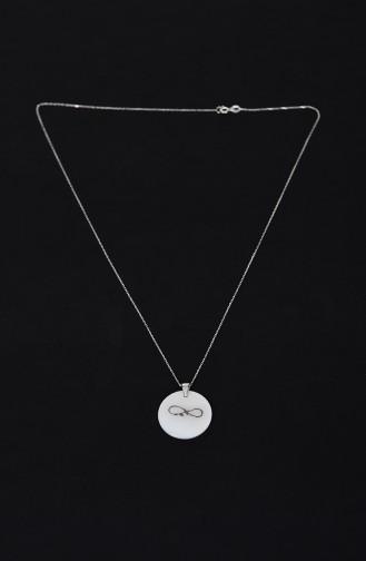 Bayan Gümüş Kolye SGK002 Beyaz 002