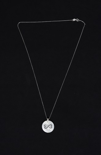 Ladies Silver Necklace Sgk004 White 004