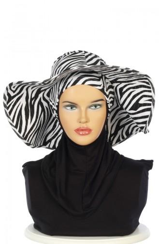 Desenli Boneli Şapka SP001-04 Siyah