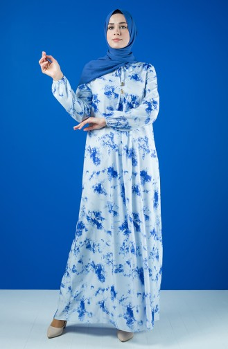 A Pile Viskon Elbise 8207A-01 Mavi