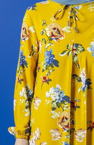 فستان فيسكوز مطوي بطية A خردلي 8209-01