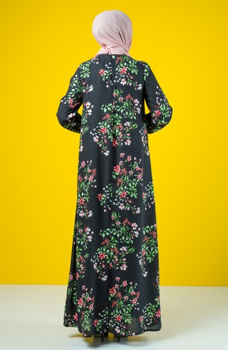 فستان فيسكوز مطوي بطية A أسود 8209B-01