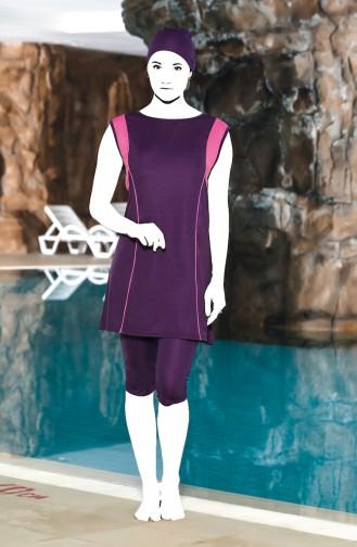 Plus Size Pool Swimsuit 0124-04 Purple 0124-04