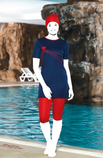 Havuz Mayo 0202-04 Lacivert Kırmızı