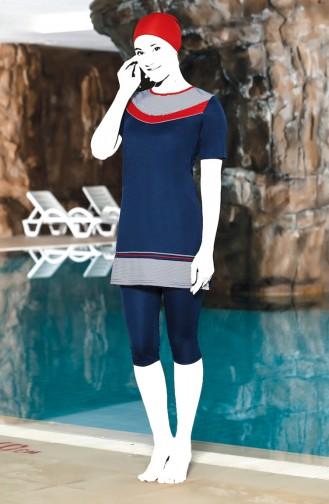 Kurzarm Pool Badeanzug 0210-01 Dunkelblau 0210-01