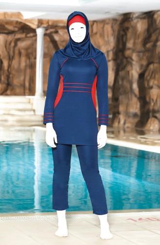 Plus Size Striped Islamic Swimsuit 0308-02 Navy Blue 0308-02