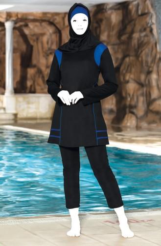Grösse Grosse Patchwork Gemusterter Hijab Badebekleidung 0309-04 Schwarz 0309-04