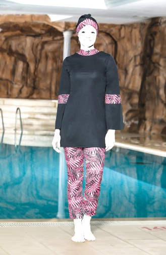 Topped Islamic Swimsuit 4300-02 Anthracite Fuchsia 4300-02