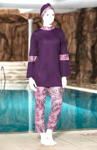 Patchwork Hijab Badbekleidung  4300-03 Zwetschge Fuchsia 4300-03