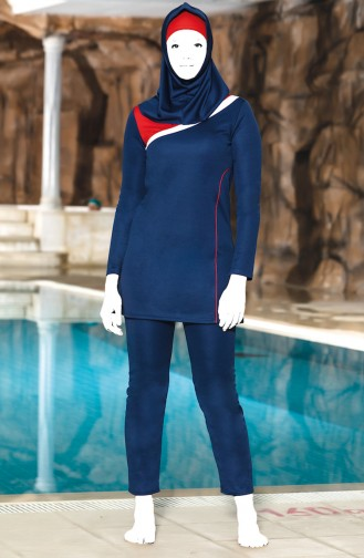 Topped Islamic Swimsuit 4302-01 Navy Blue 4302-01