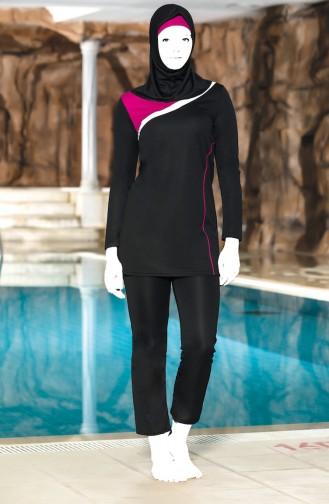 Maillot de Bain Hijab Garnie  4302-02 Noir 4302-02