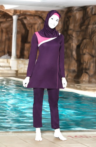 Topped Islamic Swimsuit 4302-03 Purple 4302-03