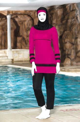 Striped Islamic Swimsuit 4304-01 Fuchsia Black 4304-01