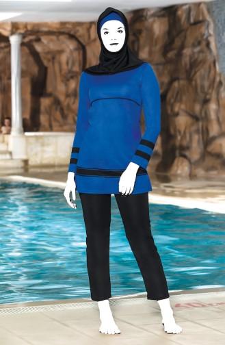 Striped Islamic Swimsuit 4304-02 Saxe Black 4304-02