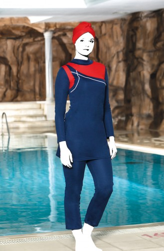 Topped Islamic Swimsuit 4306-01 Navy Blue 4306-01