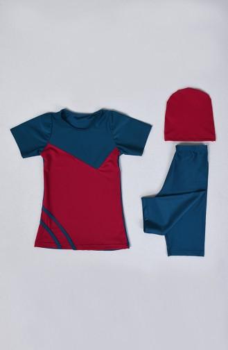 Maillot de Bain Pour Enfant 0112-10 Pétrole Fuchsia 0112-10