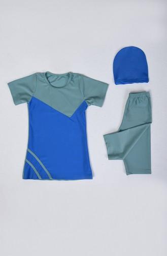 Çocuk Havuz Mayo 0112-18 Mint Yeşil Mavi