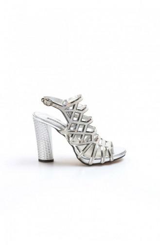 Silver Gray Heeled Shoes 629ZA314-0221-16777356