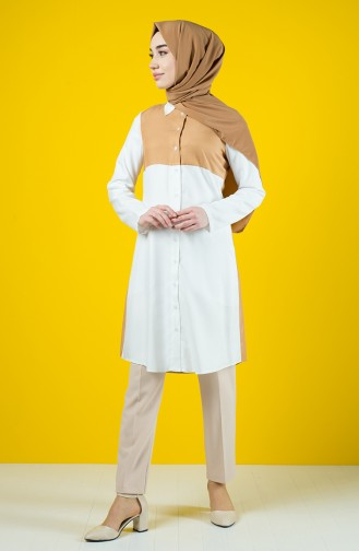 Tie Collar Buttoned Tunic 8119-03 Camel 8119-03