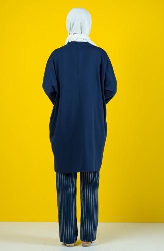 Ensemble Deux Pieces Tunique Pantalon 8142-03 Bleu Marine 8142-03