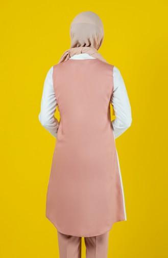 Gömlek Yaka Düğmeli Tunik 8119-05 Pudra