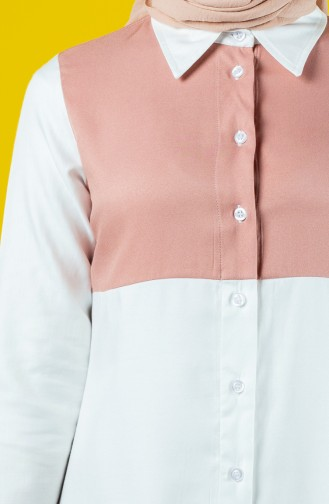 Tie Collar Buttoned Tunic 8119-05 Powder 8119-05