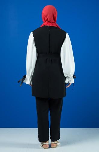 Kolları Bağlamalı Tunik Pantolon İkili Takım 1423-01 Siyah Beyaz 1423-01