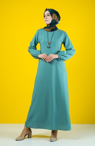 Straigth Dress with Necklace 10146-06 Almond Green 10146-06