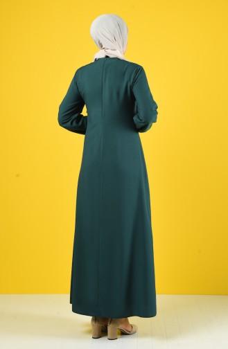 Kolyeli Düz Elbise 10146-07 Zümrüt Yeşili