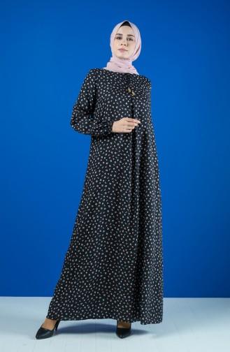 A Pile Viskon Elbise 8207-01 Siyah