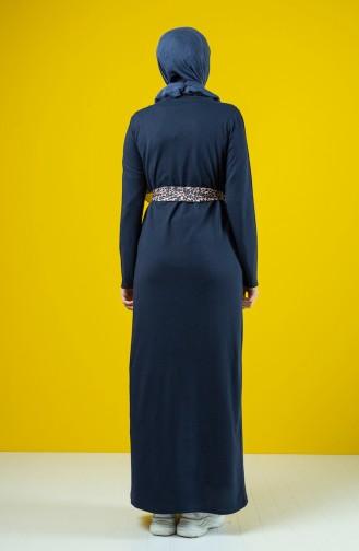 Kuşaklı Elbise 0504-02 Lacivert