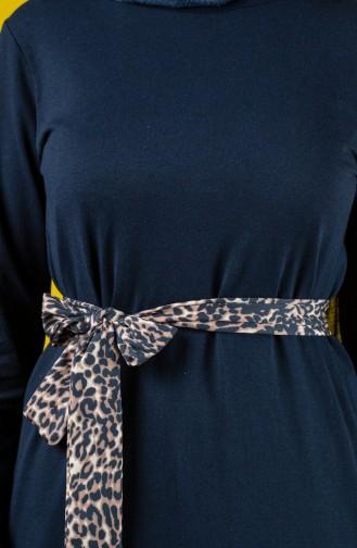 Kuşaklı Elbise 0504-02 Lacivert 0504-02