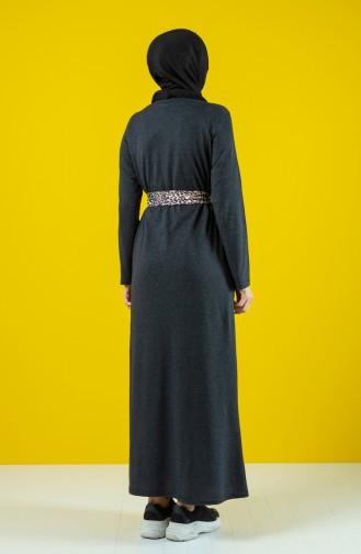 Kuşaklı Elbise 0504-05 Antrasit 0504-05