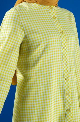 Pötikare Desenli Asimetrik Tunik 8192-01 Sarı