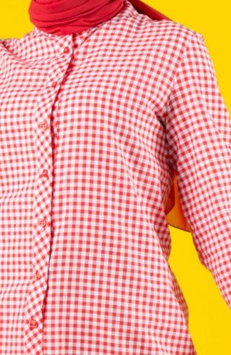 Pötikare Desenli Asimetrik Tunik 8192-05 Kırmızı