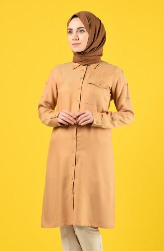 Düğmeli Cepli Tunik 8120-02 Camel