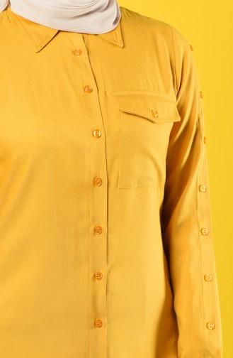Düğmeli Cepli Tunik 8120-04 Hardal