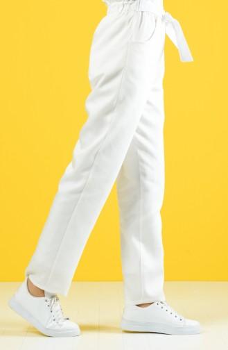 Fırfır Detaylı Kuşaklı Pantolon 1365PNT-03 Beyaz 1365PNT-03