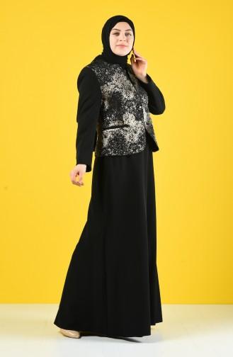 Büyük Beden Ceket Elbise İkili Takım 7K7704200-02 Siyah