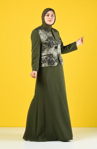 Büyük Beden Ceket Elbise İkili Takım 7K7704200-03 Haki