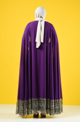 Büyük Beden Kemerli Abiye Elbise 6Y4632601-01 Mor