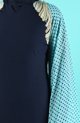 Robe de Soirée Brodée de Perles 6Y4634800-02 Bleu Marine 6Y4634800-02