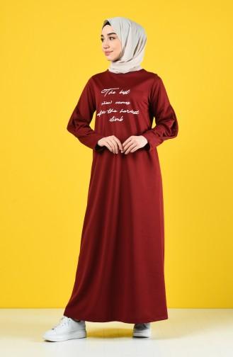 فستان أحمر كلاريت 4090-03