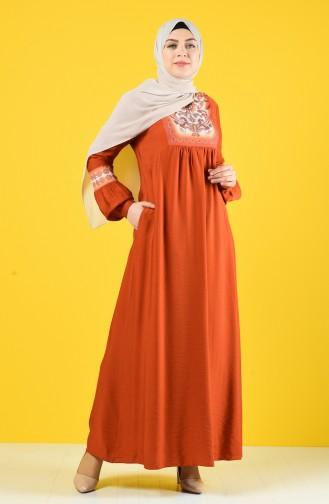 Stone Printed Summer Dress 9y3941502-02 Brick Red 9Y3941502-02