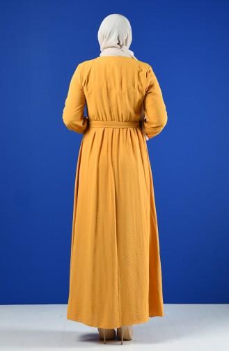 Taş Baskılı Kuşaklı Elbise 9Y3958800-01 Hardal