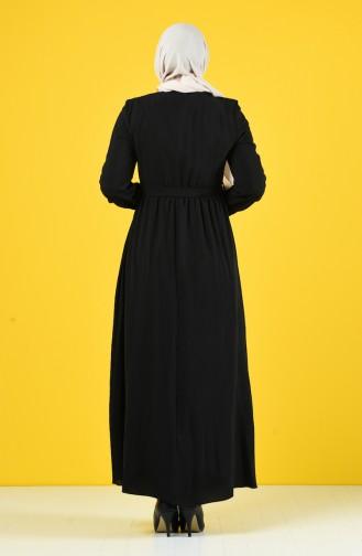 Taş Baskılı Kuşaklı Elbise 9Y3958800-03 Siyah