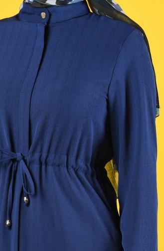 Abaya D été Taille Froncée 6848-04 Bleu Roi 6848-04