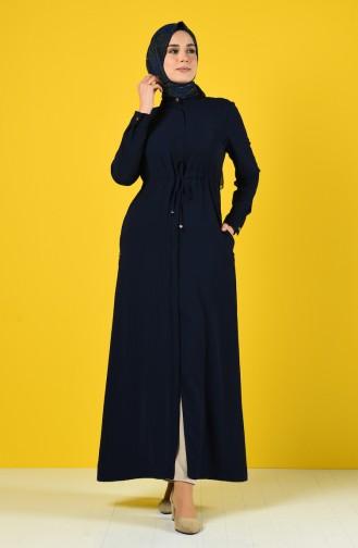 Ruched Waist Summer Abaya 6848-05 Navy Blue 6848-05