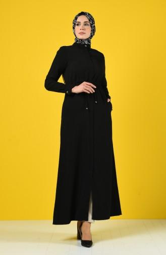Abaya D été Taille Froncée 6848-06 Noir 6848-06